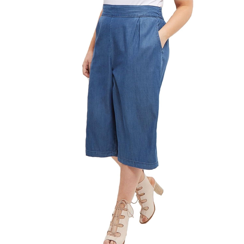 Women's Elastic Waist Baggy Wide Leg Bootcut Capri Palazzo Soft Denim Jean Pants (US 20)