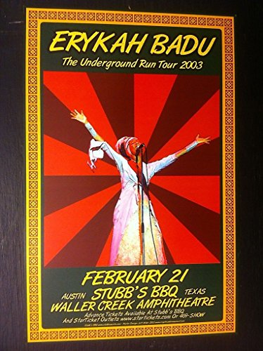 Erykah Badu Rare Original Limited Edition R and B Funk Soul Texas Concert Poster from ConcertPosterArt