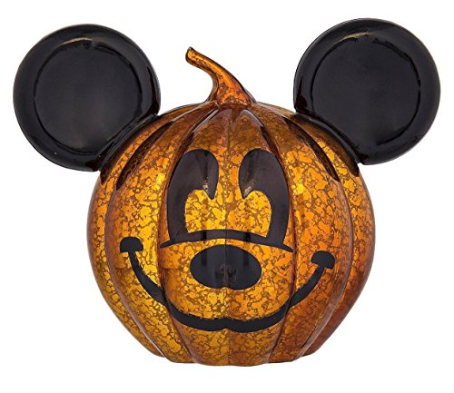 Disney Parks Halloween Mickey Light Up Glass Pumpkin New with Tags -