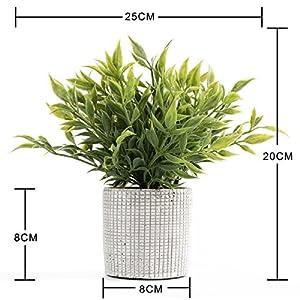 Cyrra 8 Inch high Bathroom Vanity Decor Ideas Indoor Artificial Grass Plants for Shelf Nandina 2