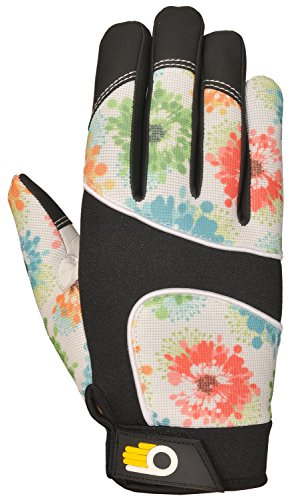Bellingham C7781L Women's Floral Pattern Performance Work Gloves Premium Grain Cowhide with Reinforced Palm and Fingertips, Large