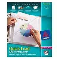 Avery 73802 Protectores rápidos de hojas de carga superior y lateral, carta, diamante transparente (caja de 50)