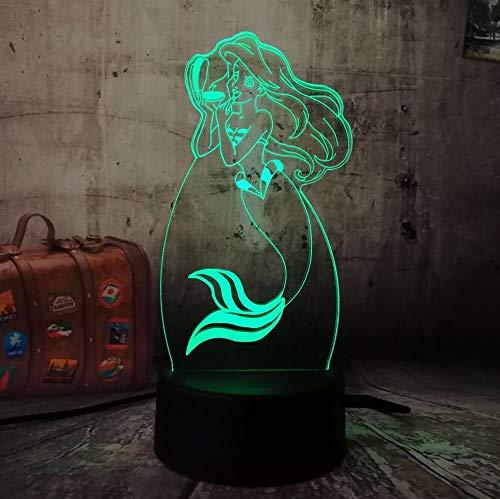 nachtlicht baby Weihnachtsgeschenke Night Light Children'S Day Gift Princess Mermaid 7 Colors Change 3D Led Baby Night…