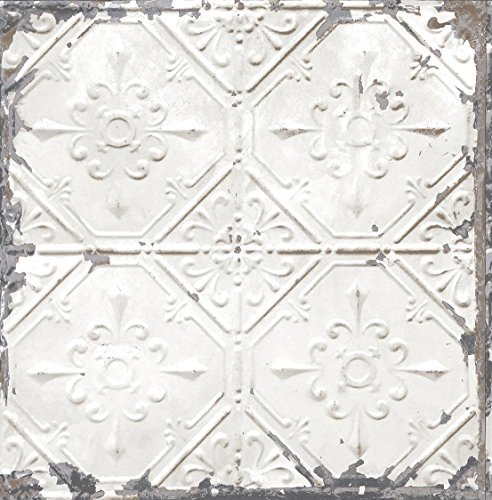 BHF FD22305 Reclaimed Tin Ceiling Wallpaper - White by BHF