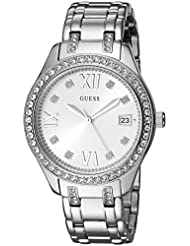 GUESS Womens Stainless Steel Crystal Accented Watch, Color: Silver-Tone (Model: U0848L1)
