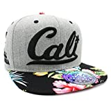 LAFSQ Embroidered Cali with California Map Snapback Cap (H.Grey/Black/Flower)