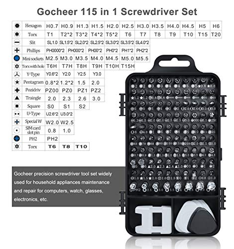 Gocheer Mini Precision Screwdriver Set, 115 in 1 Magnetic Screwdriver Bit Set with Case for iPhone, Computer, PC, Watch, Glasses, Electronics, Mini DIY Hand Work Repair Tools