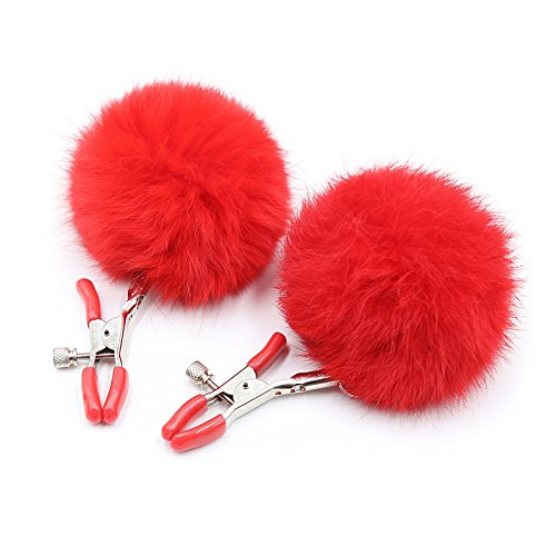 Rabbit Tail A Pair Sexy Nipple Clamps Sex Toys for Woman Flirting Candy Colors Breast Clamps Fox Tail Toys for Adults red Color by Nipple Clamps