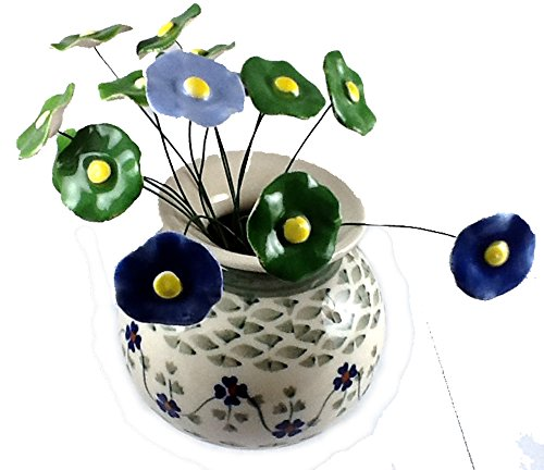 Short Round Flower Vase in the Polish Pottery Pattern RV Rhine Valley Plus 15 Coordinating Blue and Green Polish Ceramic Flowers Handmade in Poland