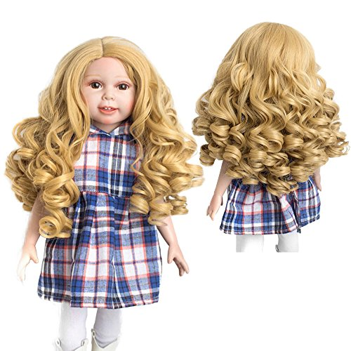 Wigs Only! Heavy Golden Khaki Doll Wigs Deep Curls Hair for 18'' American Girl Dolls from MUZI WIG