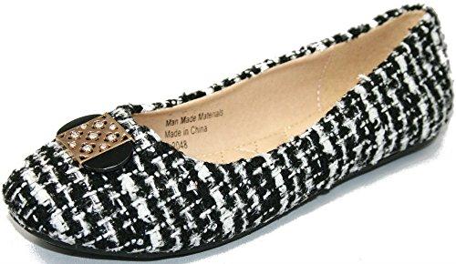 T. Slip Da Donna Stile Klein Tweed Comfort Slip On Sintetico Nero / Bianco