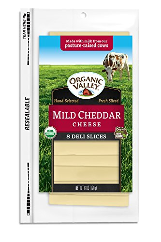 Organic Valley, Organic Mild Cheddar Cheese, Sliced, 6 Ounces