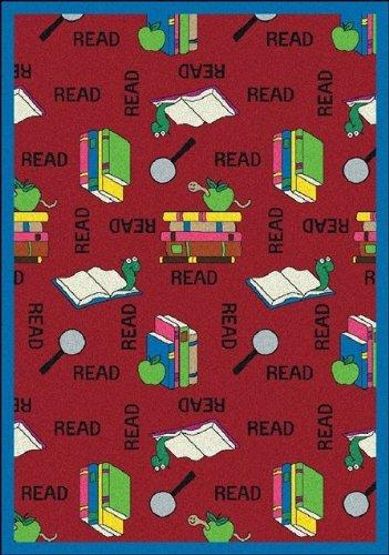 Joy Carpets Kid Essentials Language & Literacy Bookworm Rug, Red, 3'10'' x 5'4'' by Joy Carpets