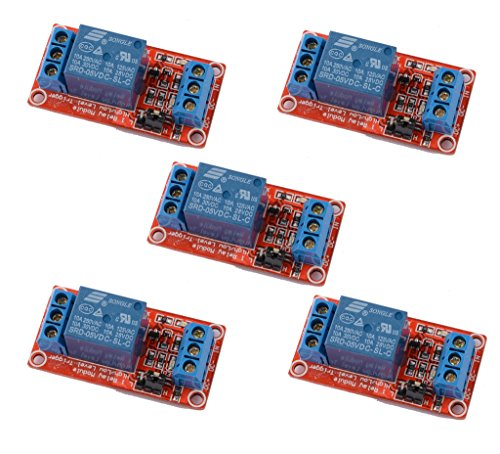 DAOKI 5PCS 5V One 1 Channel Relay Module Board Shield with optocoupler Support High and Low Level (High Voltage Relay)