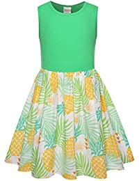 Girl's Pineapple Print Casual Beach Tank Dresses