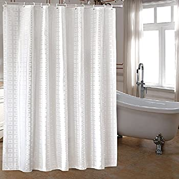 Amazon.com: mDesign Hotel-Style Fabric Shower Curtain - Extra Long ...