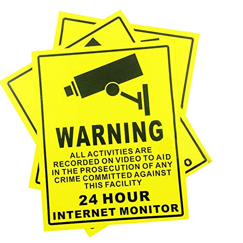 (10 PCS CCTV Signs Self Adhesive Sticker Warning Premises Protected Under 24 Hour Internet Monitor Safety Sign - Security, Camera, Closed Circuit TV, Warning Safety - 250 x 200 mm)