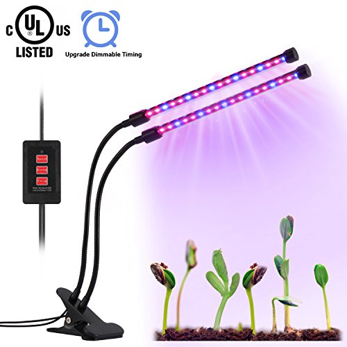 Led Grow Light for plants, Dual Head Grow Lamp Timing Function(3H/6H/12H),36 LED 4 Dimmable Levels, USB Charger, UL Certified, Adjustable Gooseneck Indoor Plants Hydroponics Tent Herbs Potted Upgrade Review
