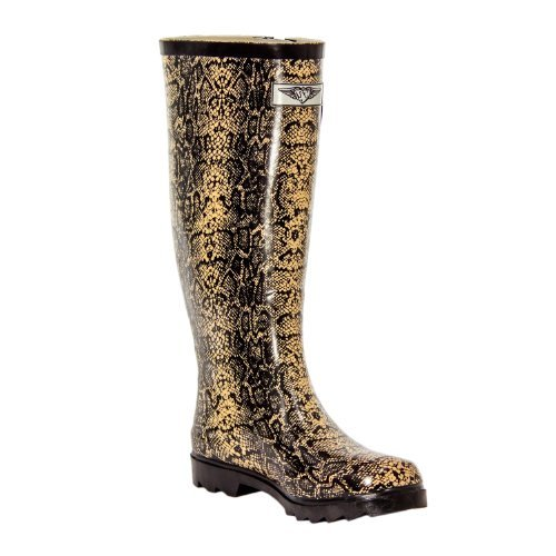 Forever Young Women's Puddles Rubber Rain Boot - Safari Collection (6, Snake Skin - ()
