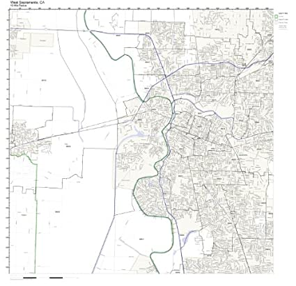 Amazon Com West Sacramento Ca Zip Code Map Laminated Home Kitchen