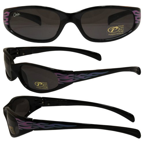 Pacific Wrap Sunglasses - New - Pacific Coast Sunglasses Inc. - Wrap Around Womans Sunglasses with Pink Flames