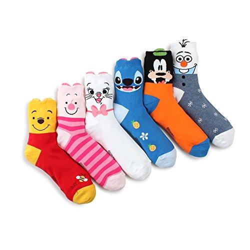 Winnie The Pooh Socks - Choice !! Disney Pixar Characters Set Socks with Intype Pouch (Crew 6pairs(OK))