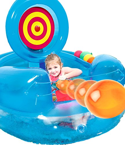 Cannon Catapult Play Pool Center. This Kiddie Blow Up Above Ground Inflatable Swimming Pool Is Great For Toddlers, Children To Have Outdoor Water Fun With Slide, Toys, Floats. (Blue)