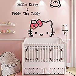 Ikeelife Creative KT Cat Hello Kitty Wall Sticker Acrylic Children Room 3D Cartoon Adornment Bedroom Nursery Wall Mural Decals Kt,100x72cm/39.4x28.37