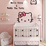 Ikeelife Creative KT Cat Hello Kitty Wall Sticker Acrylic Children Room 3D Cartoon Adornment Bedroom Nursery Wall Mural Decals Kt,100x72cm/39.4''x28.37''