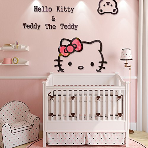 Ikeelife Creative KT Cat Hello Kitty Wall Sticker Acrylic Children Room 3D Cartoon Adornment Bedroom Nursery Wall Mural Decals Kt,100x72cm/39.4''x28.37'' by Ikeelife®