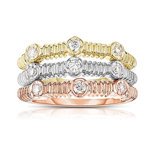 Noray Designs 14K White, Yellow & Rose Gold (0.36 Ct, G-H, SI2-I1 Clarity) Stackable Ring Set. by Noray Designs