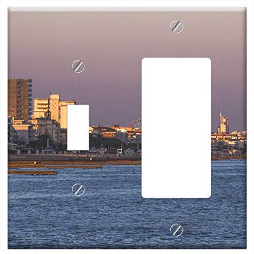 1-Toggle 1-Rocker/GFCI Combination Wall Plate Cover - Beach Sea Holiday Sunset Jesolo Italy Coast