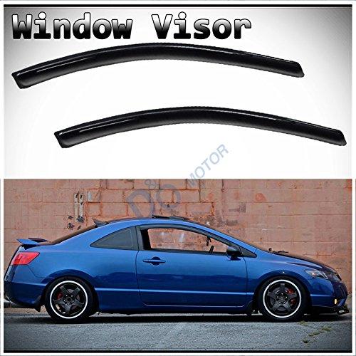 D&O MOTOR 2pcs Front Doors JDM Smoke Sun/Rain Guard Outside Mount Tape-On Window Visors for 06-11 Honda Civic 2-Door - Civic Honda 2007 2 Door