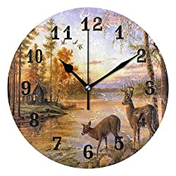AUUXVA SEULIFE Wall Clock Forest Deer Tree River, Silent Non Ticking Clock for Kitchen Living Room Bedroom Home Artwork Gift