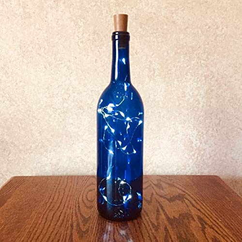 (Blue Bordeaux Empty Wine Bottle With Twinkle Fairy Lights Powered From The Cork, Wine Bottle Decor With Lights, Wine Bottle Crafts & Centerpieces)