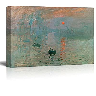 Impression Sunrise by Claude Monet Giclee Canvas Prints Wrapped Gallery Wall Art | Stretched and Framed Ready to Hang - 24