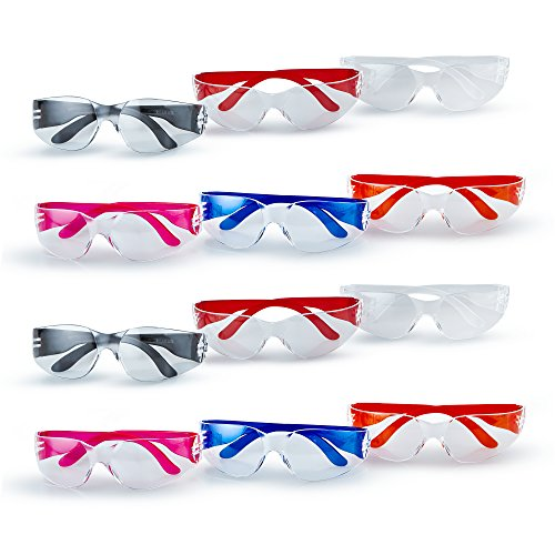 12 Safety Glasses Premium Bulk Pack Of Scratch Resistant Clear UV Protection Lenses In All Colors. FDA Approved Gumballs Drop Testing Impact Passed And One Size Fits All, ANSI Z87.1 - Sunglasses Use Why Polarized