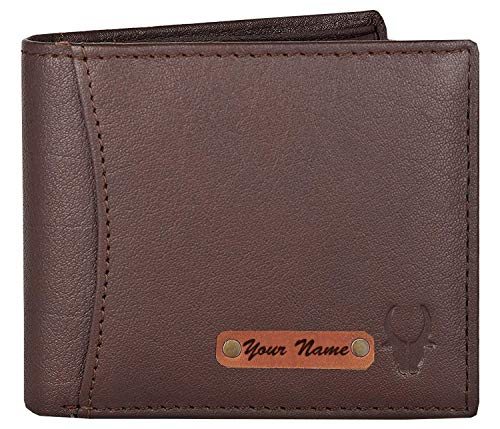 WILDHORN® RFID Protected Customizable Wallet for Gifting | Engrave with Your Name,Company Name or Initials (Brown 1)