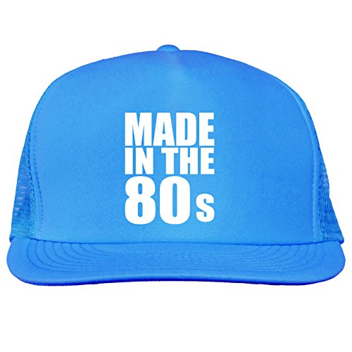Made in the 80s Bright neon truckers mesh snap back hat in Neon Blue - One Size