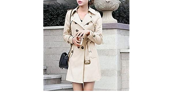 Amazon.com: B dressy Women Double Breasted Slim Fit Long Spring Coat Feminino Abrigos Mujer Autumn Outerwear Z505 KhakiXX-Large: Clothing