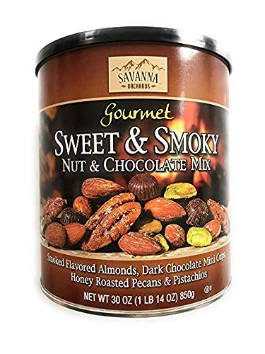 - Savanna Orchards Gourmet Sweet & Smoky Nut and Chocolate Mix 30oz Almonds, Dark Chocolate mini cups, Honey rasted Pecans & Pistachios