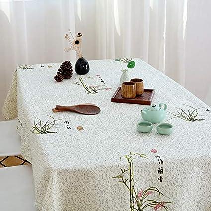 SnowFig Mantel Elegante Patrón de Orquídea de Bambú de Algodón y Lino Estilo Rústico Mantel Rectangular