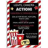 Birthday Party Invitations, Lights, Camera, Action, Movie Birthday Party, Black, Red, White, Popcorn, Movie Ticket, Set of 10 Custom Printed Invites with Envelopes
