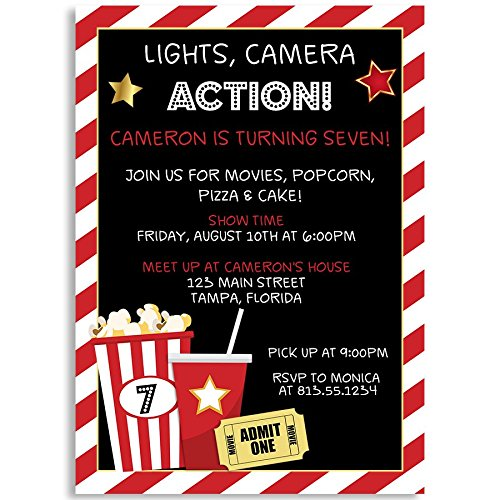 Birthday Party Invitations, Lights, Camera, Action, Movie Birthday Party, Black, Red, White, Popcorn, Movie Ticket, Set of 10 Custom Printed Invites with Envelopes