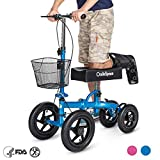 OasisSpace All Terrain Knee Scooter | with 12'' Air Filled Wheels, Steerable Knee Walker Heavy Duty Crutches for Foot Injuries Ankles Surgery (Royal Blue)