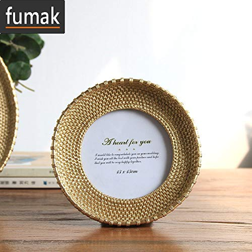 fumak Photo Frame - Special Design Picture Frame for Home Decoration Resin Round Photo Frame for Favor Gift Modern Creative Picture Frame Art Fotos (Color2 4inch) ()