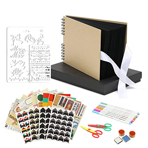 Scrapbook Photo Album DIY Kit Baby Scrapbook Album Wedding Guest Book Anniversary Scrapbook School Memory Book Keepsake Album Handmade DIY Album with Bonus Gift Box Black Paper 80 Pages ()
