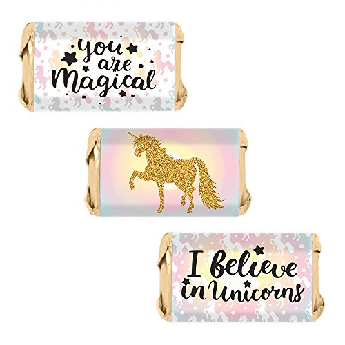 Magical Unicorn Miniatures Candy Bar Wrapper Stickers (54 Count) (Wrappers Baby Shower Miniature Candy)
