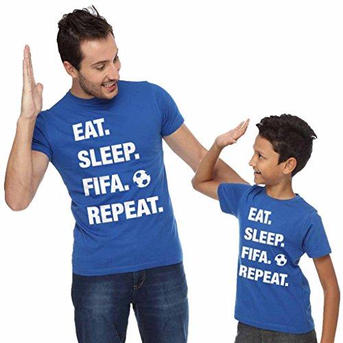 BonOrganik Eat, Sleep, FIFA, Repeat Dad and Son Tee(BON1720-SP-RB-MB06 Size:Dad S -Son 10-12Y)
