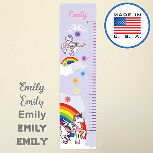 WallClipz Personalized Growth Chart FABRIC Wall Decal, Pink Unicorn with Name, Height Ruler Measurement, Peel and Stick Rainbow Princess Kids Girls Nursery Measuring, Removable Reusable, MADE IN USA